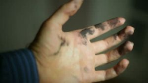 ink stained hands